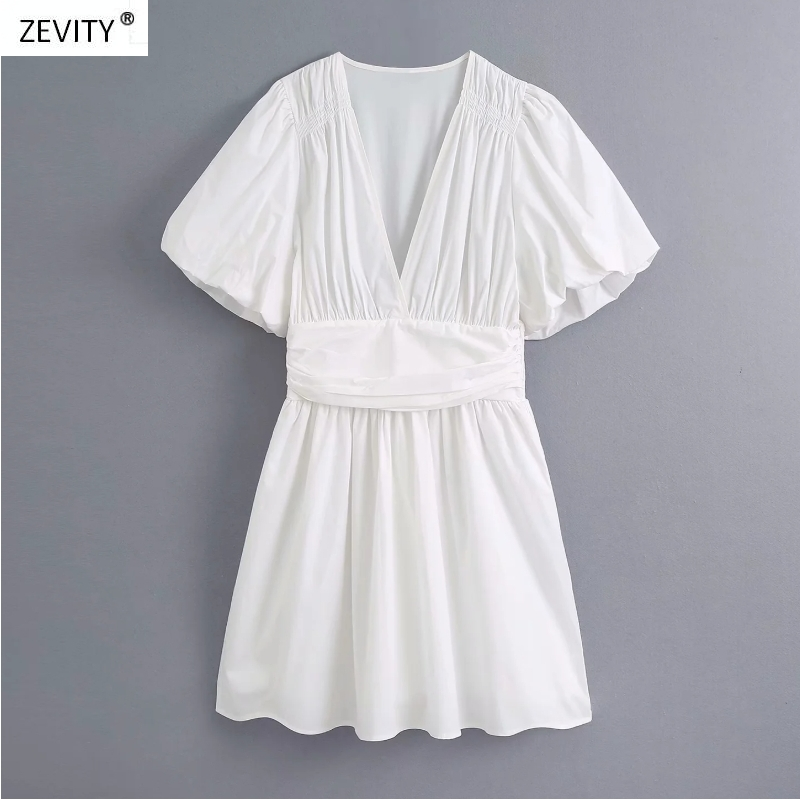 2020 women vintage v neck pleats lantern sleeve casual slim kimono dress ladies elastic waist white vestidos chic dresses DS3948