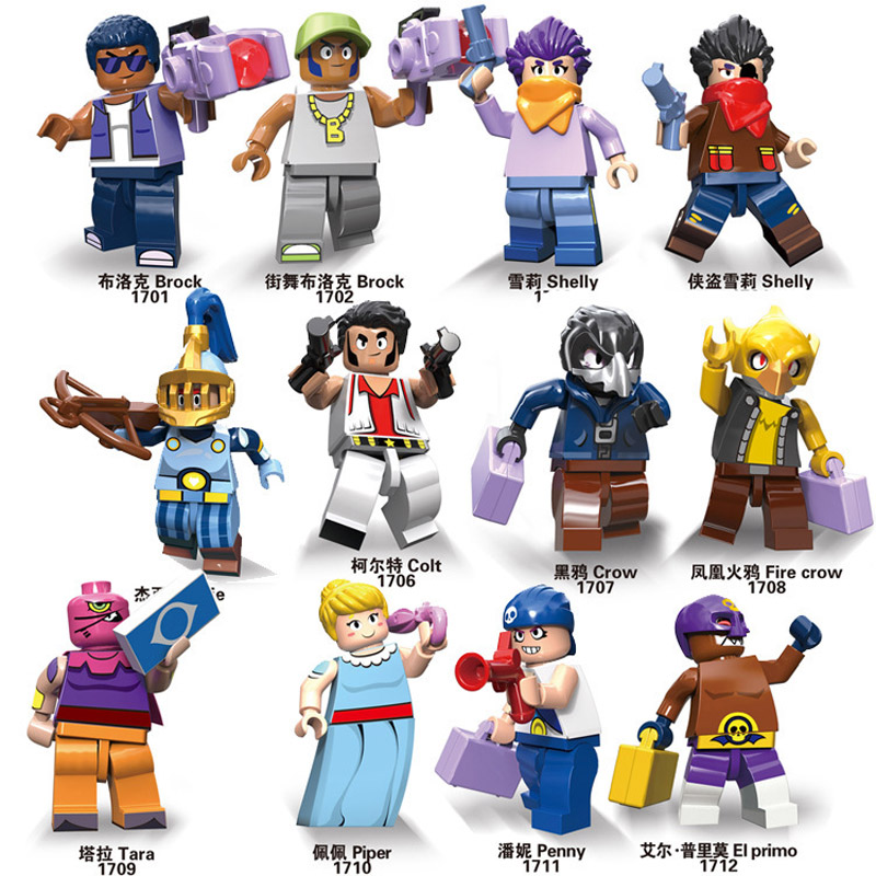 12pcs/lot Brawls figure game Anime star hero model Tara Shelly Broke Crow Jessie Piper doll New Year Xmas toy gift for Children