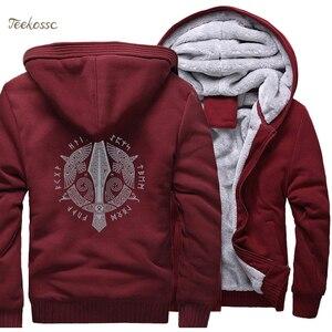 Image 5 - Odin Vikings Hoodie Men Viking Berserker Stylish Jacket 2018 Winter Brand Warm Fleece Hip Hop Hooded Sweatshirt Coat Homme 5XL