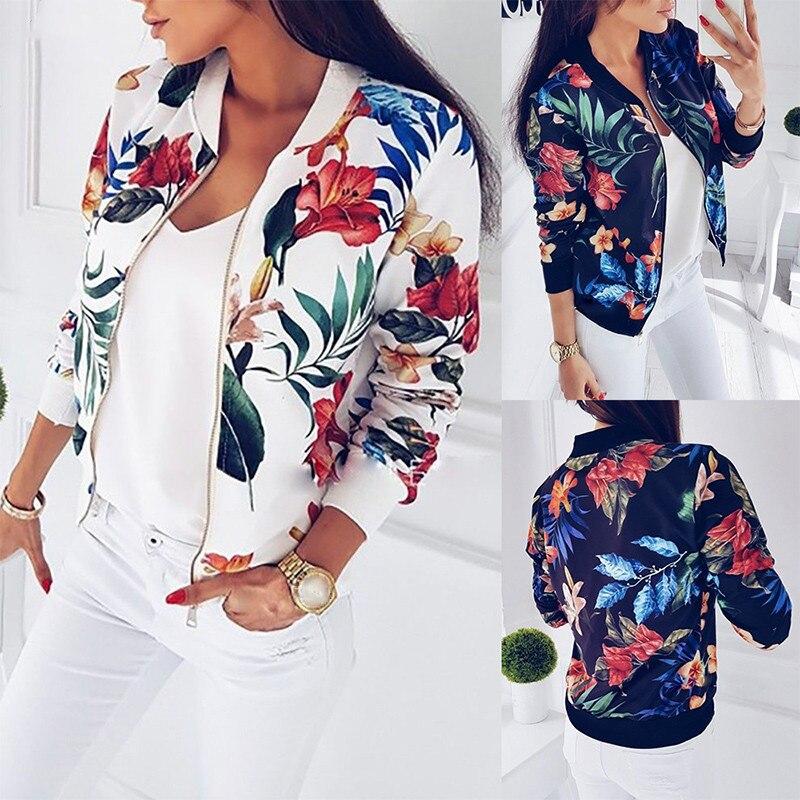 Print Bomber Jacket Women Flowers Zipper Up Retro Slim Coat 2019 Autumn Long Sleeve Basic Plus Size Short Biker Jackets Female