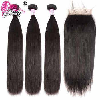 Beauty Forever Brazilian Straight Human Hair Bundles With Closure 4*4 Free/Middle/Three Part Natural Color Remy Hair Extension - DISCOUNT ITEM  40% OFF All Category
