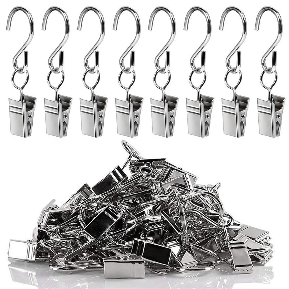 100Pcs S Hook Hanging Steel Curtain Clip Party Light Hangers Clips Gutter Clips Tools Hinging Ring For Clothes Decoration Supply