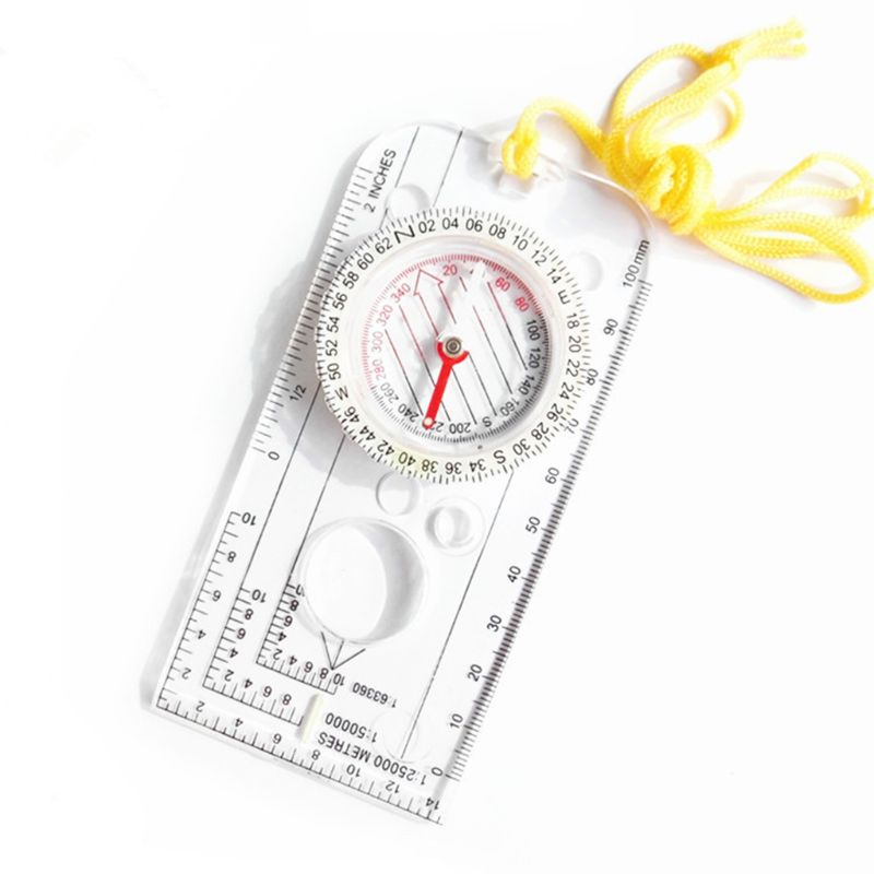 Measuring Compass Hiking Scouting Outdoor Mountaineering Map Scales Ruler