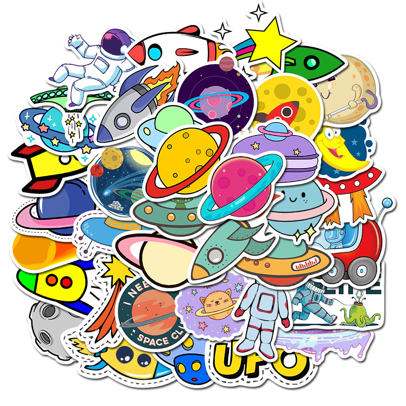 50PCS Outer Space Stickers Toys For Children UFO Astronaut Rocket Ship Planet Sticker For Scrapbooking Luggage Skateboard Laptop