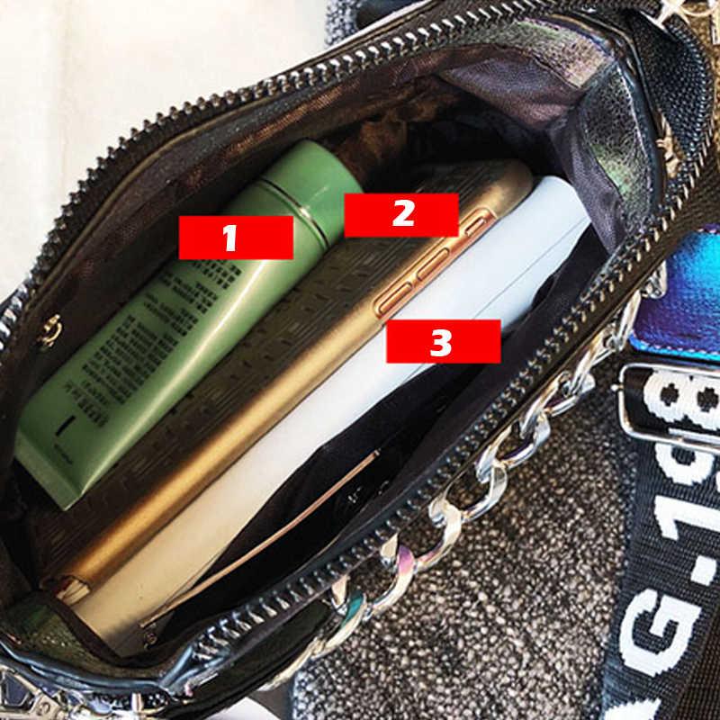 Flaş satış lazer kadın mektup omuzdan askili çanta INS kadın çanta tatil PU postacı çantası bayan için zarif Crossbody kova