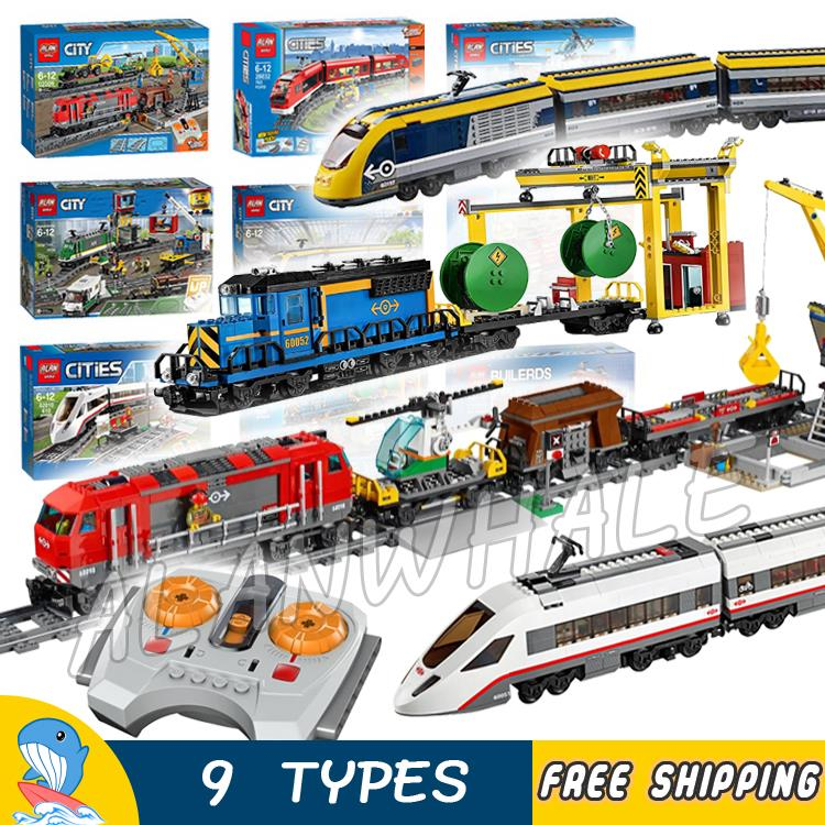 9Types City Motorized Remote Control Cargo Train Hobby Model Building Block Toys Brick Power Functions Compatible With <font><b>Lego</b></font> image