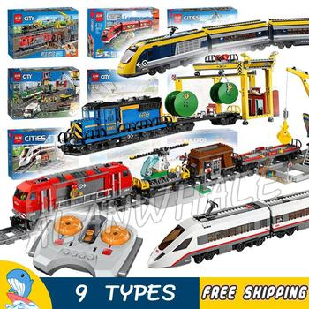 9Types City Motorized Remote Control Cargo Train Hobby Model Building Block Toys Brick Power Functions Compatible With Lago