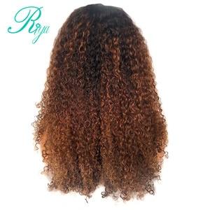 Image 2 - 13x4 invisível 150% 1b30 ombre cor frente do laço perucas de cabelo humano com franja preplucked encerramento encaracolado frontal peruca do laço indiano remy