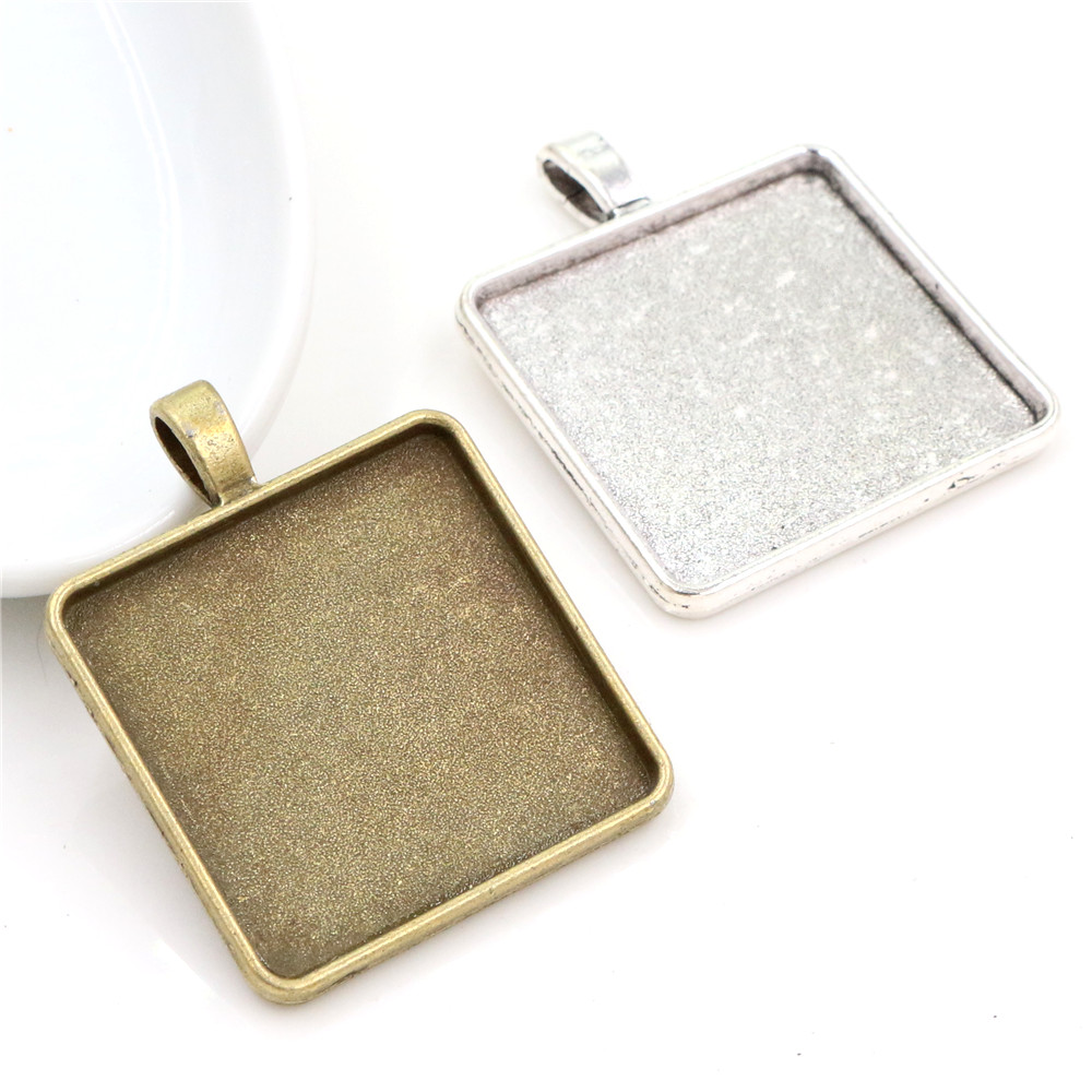 New Fashion 5pcs 30mm Inner Size 2 Colors Square Cabochon Base Setting Charms Pendant,Fit  30mm Square Glass Cabochons