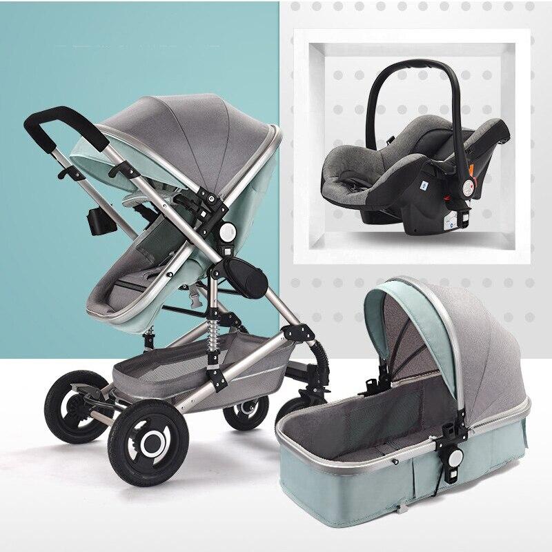 Carrinho de bebê cesta assento 3 in1 para recém-nascido dobrável pode sentar e dormir crianças buggy para crianças