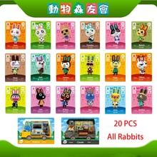 Hlyejun 20 قطعة كل الأرانب أميبو بطاقة ل معبر الحيوان ل نينتندو سويتش ويتني القيقب جديد الأفق العلامة لعبة بطاقة صغيرة