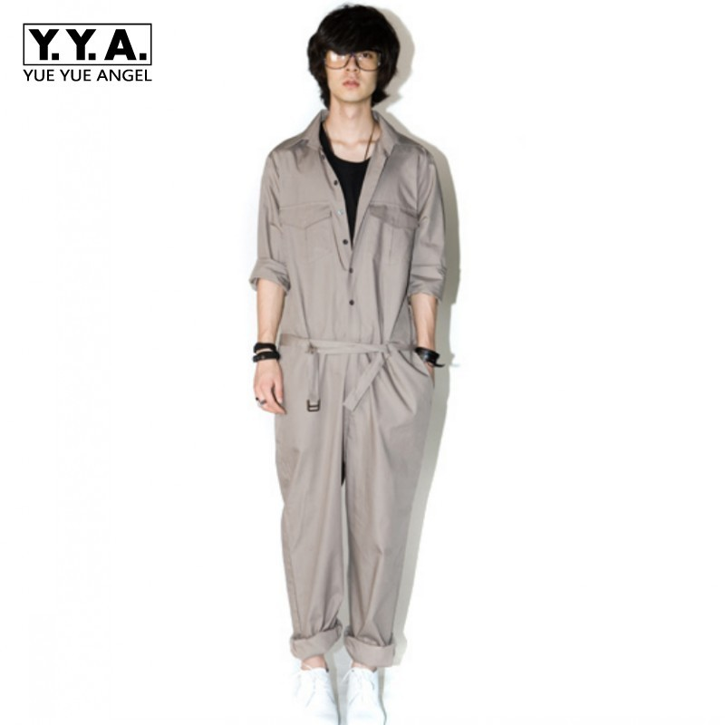 Summer New Fashion Mens Stylish Jumpsuit Overall For Man Long Sleeve Cotton Loose Fit Trousers Pants Male Size 2XL Plus Size