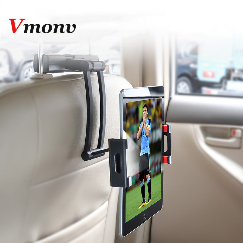 Suporte de carro para tablet vmonv, suporte de alumínio para ipad air mini 2 3 4 pro 12.9, descanso para cabeça 5-13 suporte do telefone da polegada para iphone x 8
