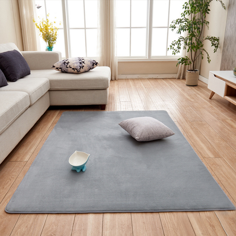 Living Room Short-haired Carpet Of Memory Cotton Mat Sofa Coffee Table Bedroom Non-slip Soundproof Home Carpet Gray