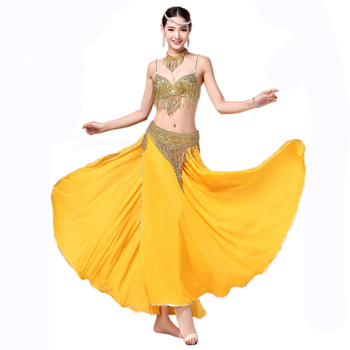 цена Women Belly Dance Clothing 3pcs Outfit Women Dancing Costume Beads B C-cup Bra + Belt + Skirt Costumes 32-34b/c 36b/c 38b/c онлайн в 2017 году