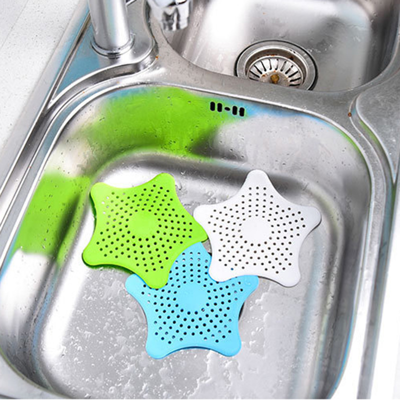 Five-pointed Star Drain Strainers Filter Sewer Sink Waste Strainer Filter Kitchen Bathroom Gutter Anti-clogging Drainage Device