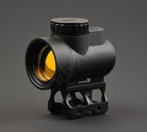 Mira telescópica táctica trijicon estilo mro 1x punto rojo para tiro de caza con Base de montaje de riel Picatinny Alto y Bajo M9159