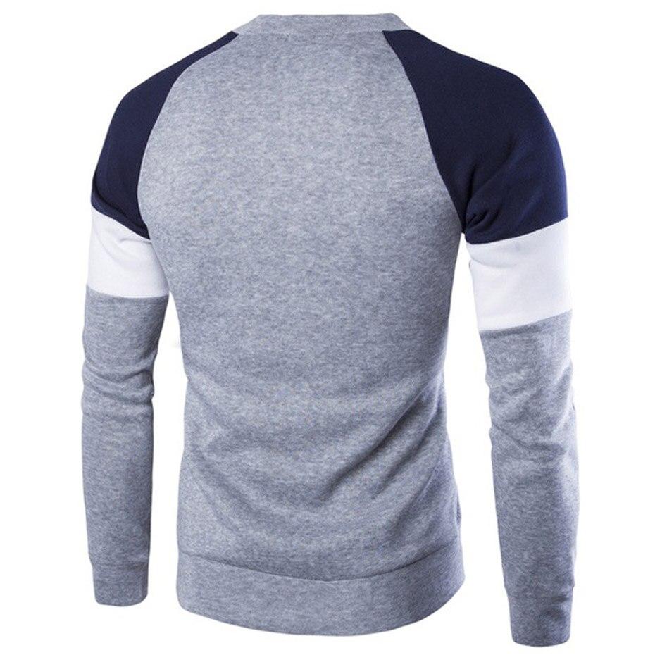 casual pulôver masculino o pescoço retalhos camisola
