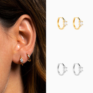 ROXI S925 Sterling Silver INS Cube Stone Women's Earrings Hipster Earrings Hoop Earrings 2020 Fashion Jewelry Accessories