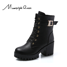 shoes woman New Punk Fashion Autumn and Winter ankle shoes Warm thick heel red black Martin Boots high heel Platform boots 2019 недорого