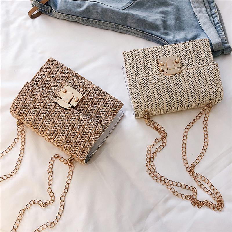Ladies Summer Holiday Straw Shoulder Bags Hand-Woven Beach Crossbody Small Bag