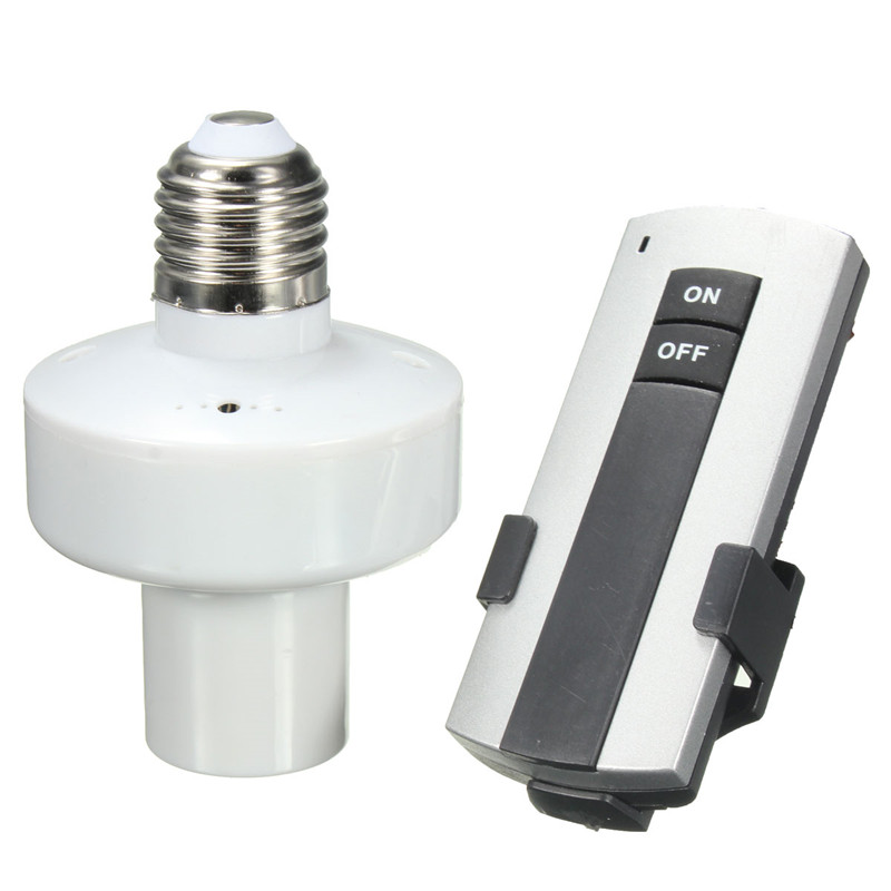E27 Wireless <font><b>Remote</b></font> Control Light Lamp <font><b>Holder</b></font> Screw Bulb <font><b>Holder</b></font> Cap ON OFF Socket Switch <font><b>AC</b></font> 180~250V Support Dropship image