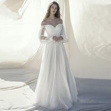 Элегантное шифоновое платье для невесты verngo с открытыми плечами