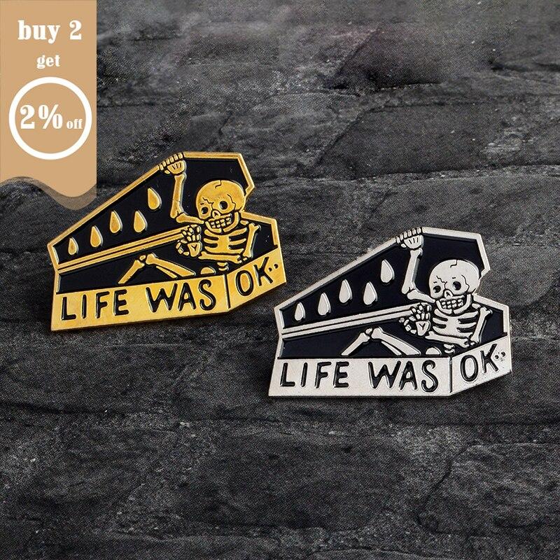 1-6pcs/set Punk Dark Brooch Collection Enamel Pins Skull Bat Witch Skeleton Coffin Pin Button Metal Badge Halloween Gift Jewelry 2