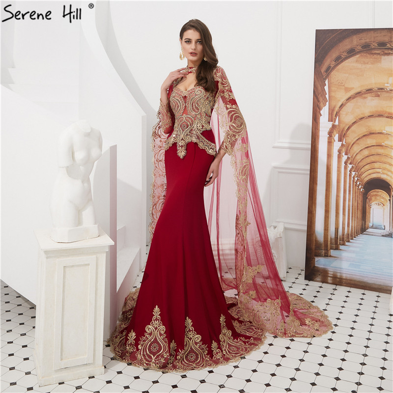 2019 Wine Red Embroidery Mermaid   Evening     Dresses   Long Sleeve Shawl Yarm   Evening   Gowns Serene Hill LA6271