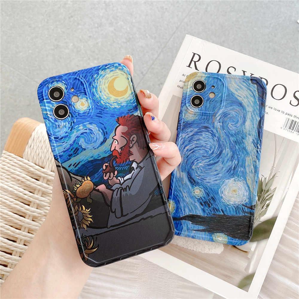 La notte stellata custodia per telefono Vincent Willem van Gogh per iPhone 12 mini 11 pro X XS Max XR se2 8 7 Plus ins Cover per pittura