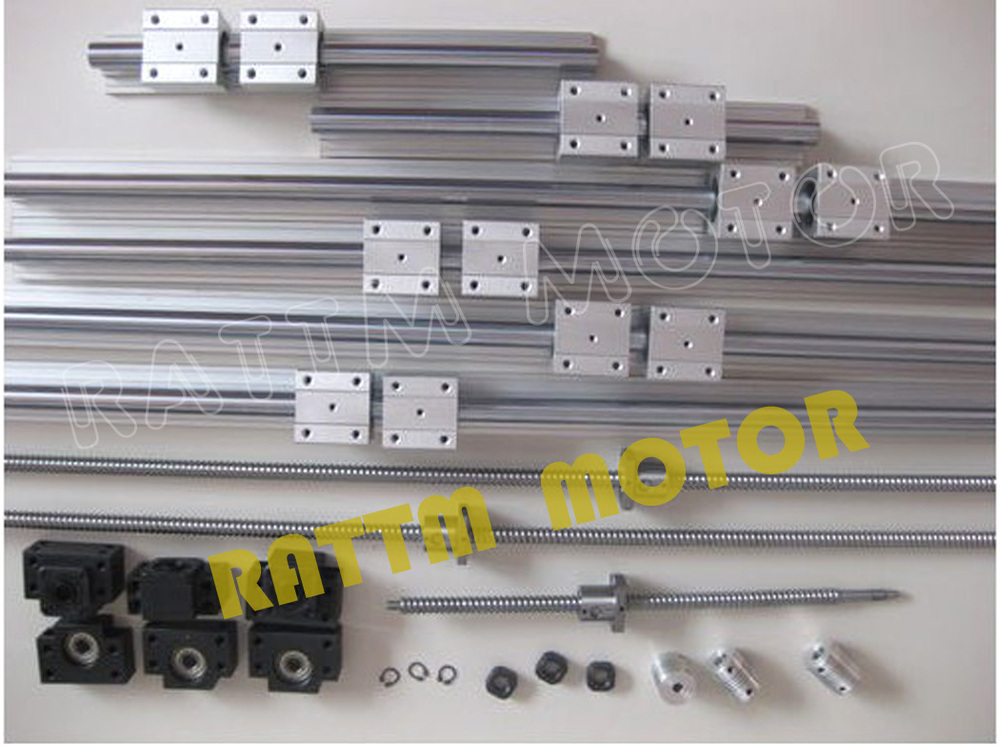 3sets SBR16 linear rail ballscrew RM1605-350//600//1500mm+BK//BF12 end bearing CNC