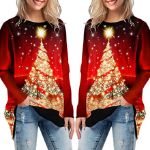 Christmas Tree Print Lady T-Shirt Women Long Sleeve Fake Two