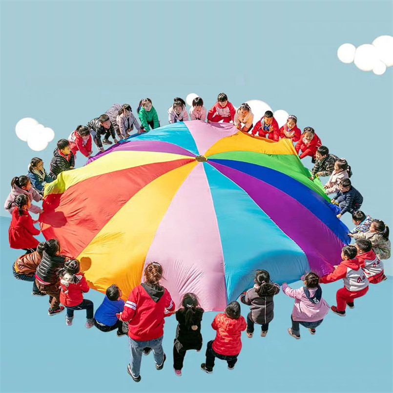 2M/3M/4M/5M Kindergarten Rainbow Umbrella Fabric Parachute Toy Outdoor Sports Games Mat Children Exercise Development Fun Toys