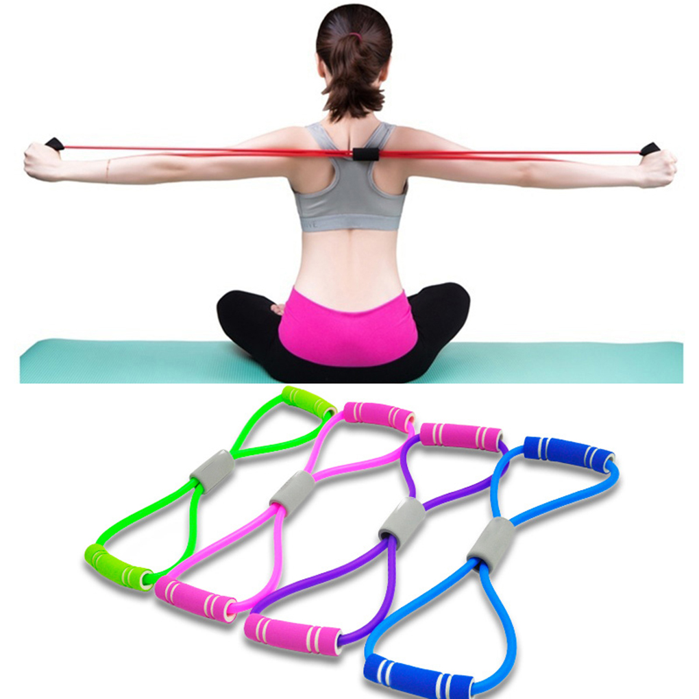 Women Yoga 8 Type Muscle Training Resistance Bands Fitness Pull Rope Tube Workout Exercise Tool
