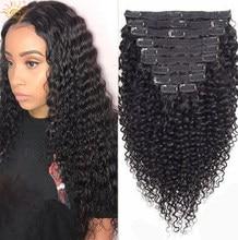 Grampo encaracolado brasileiro na extensão do cabelo humano 120g cabelo natural em grampos de cabelo remy cor natural 8 pc/set