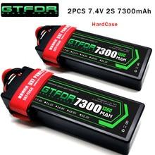 Bateria lipo gtfdr 2 peças, lipo 2s 7.4v 5200mah 6200mah 6500mah 7300mah 7000mah 50c estojo rígido 60c 100c 120c 200c 130c 260c para carro rc