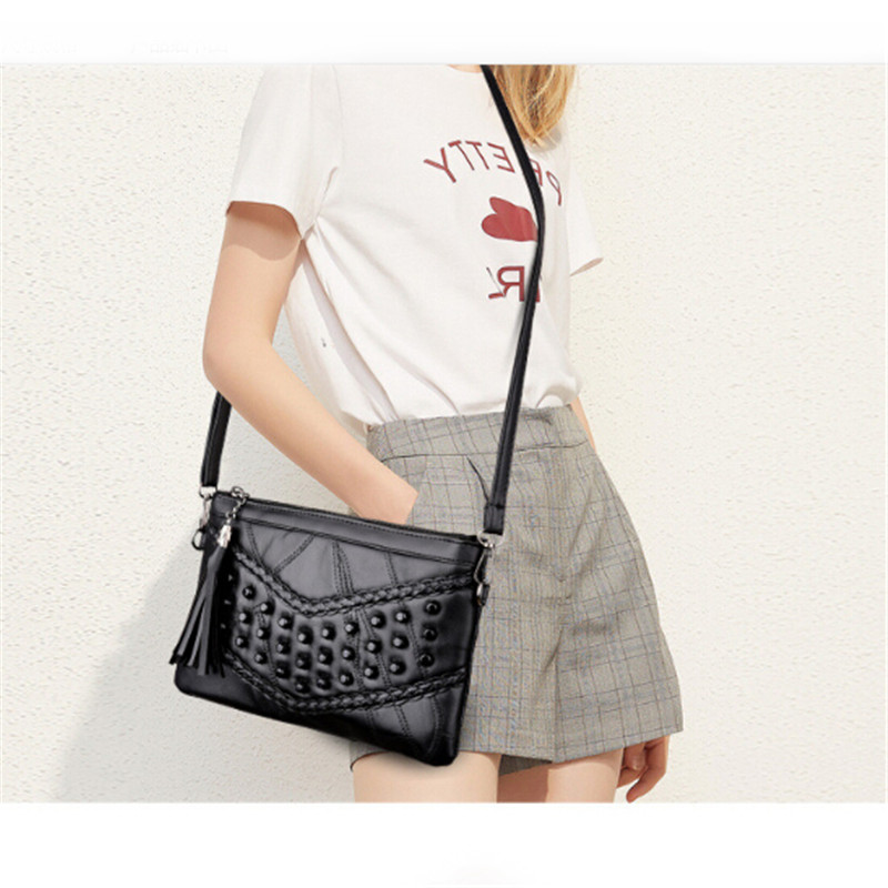 New Brand Genuine Leather Women Shoulder Black Bags Rivet Tassel Punk Woman Soft Bag Handbags Messager Bag