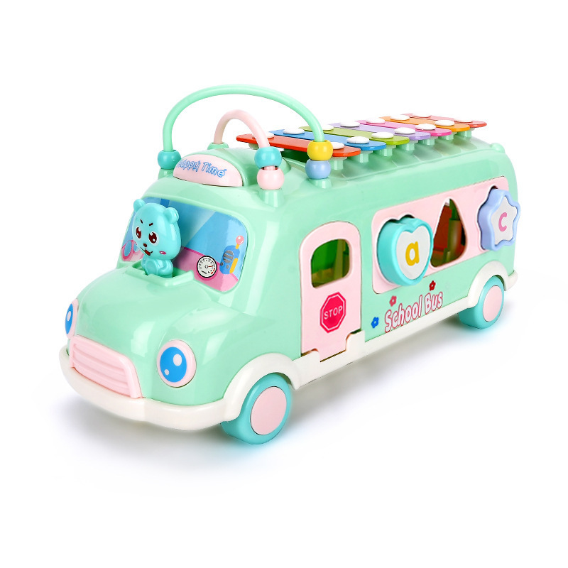 1265 # CHILDREN'S Toy Knock Piano Bus Multi-functional Building Blocks Bead-stringing Toy Bracing Wire Beat Music Educational