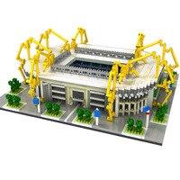 Fashion Building Block TOY Sets Football Stadium Field Gym Model Bricks Architecture Spain England Soccer Club Gymnasium Toys