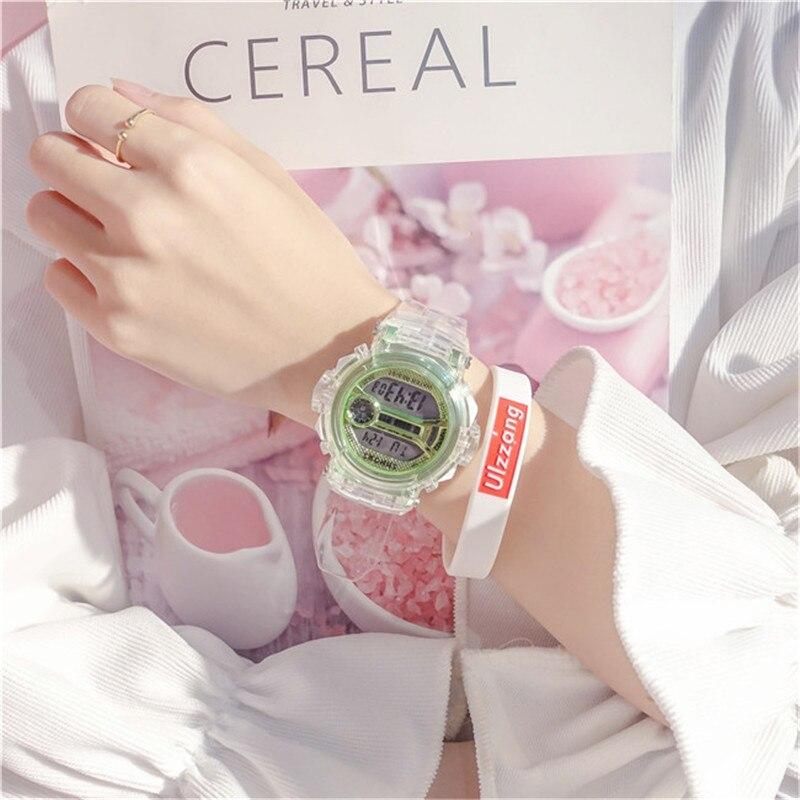 Digital Watches Women Electronic New Style Shock Sports Waterproof Shockproof Female Clock Transparent Lady Wristwatch