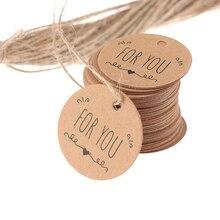 100 шт крафт-бумажные бирки для подарков для вас для празднования этикеток ручной работы для украшения свадебной вечеринки упаковочная бума...