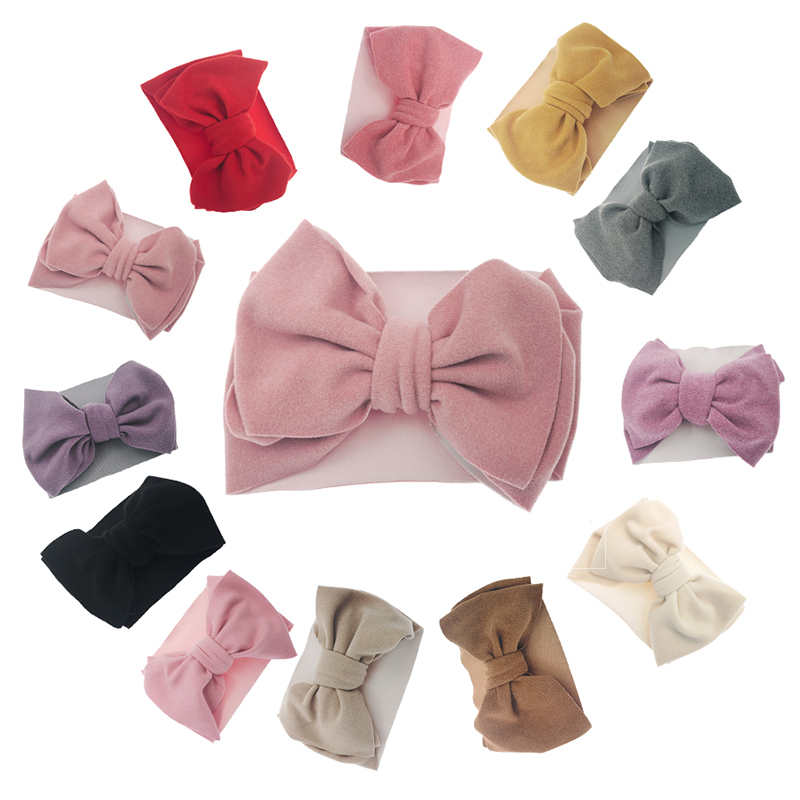 12 Pcs/lot Velvet Bows Turban Headband Baby Headwraps Soft Newborn Headdress Toddler Girls Cute Big Knot Bow Diademas Headband