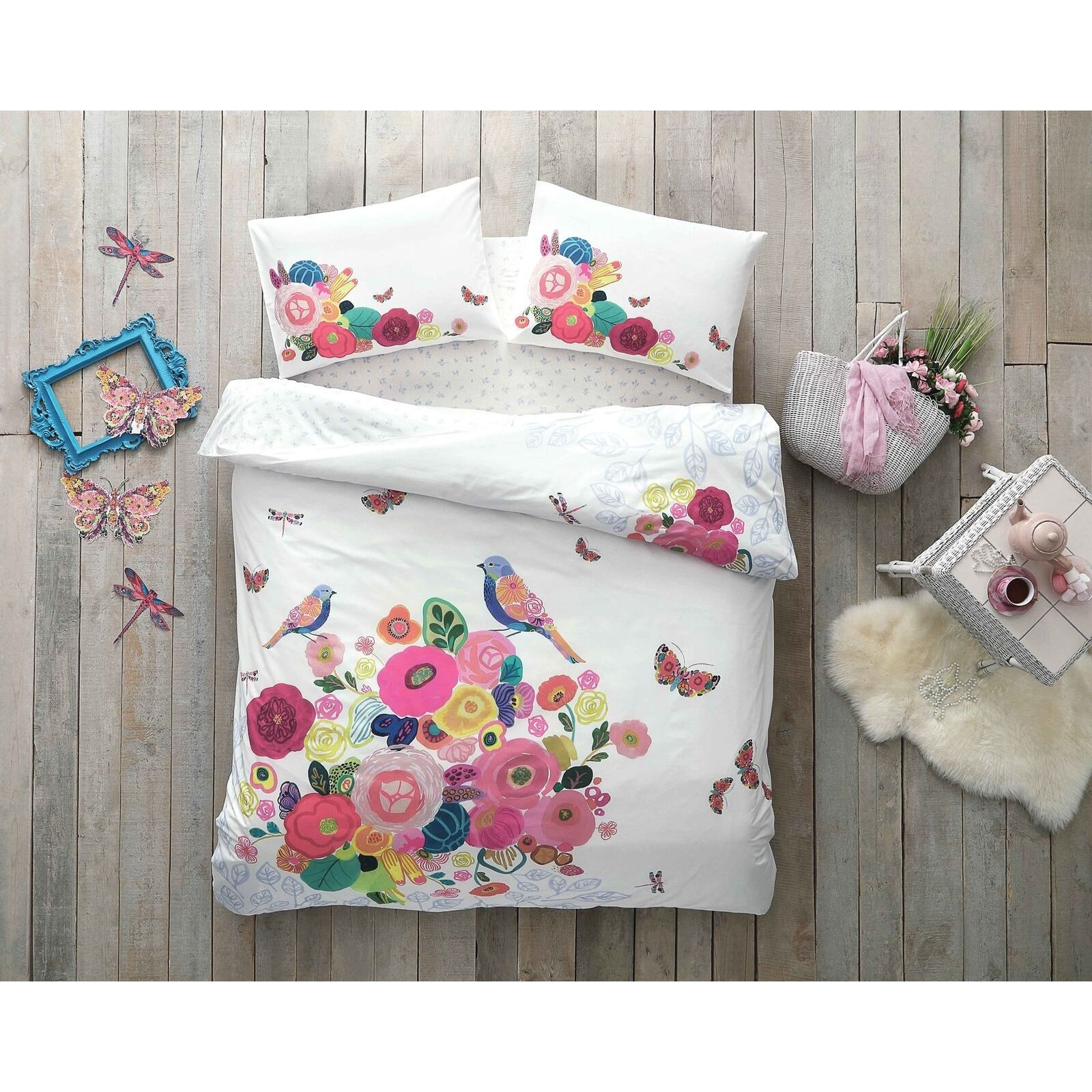 Floral Full Double 100% Cotton Bedding Duvet Cover Set w Sheet and Pillow cases