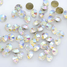 New SS2-SS47 Round Pointed AB Iridescent Crystal Clear Aurora Borealis Gold Foiled Rhinestones Gems For Jewelry Nail Making DIY