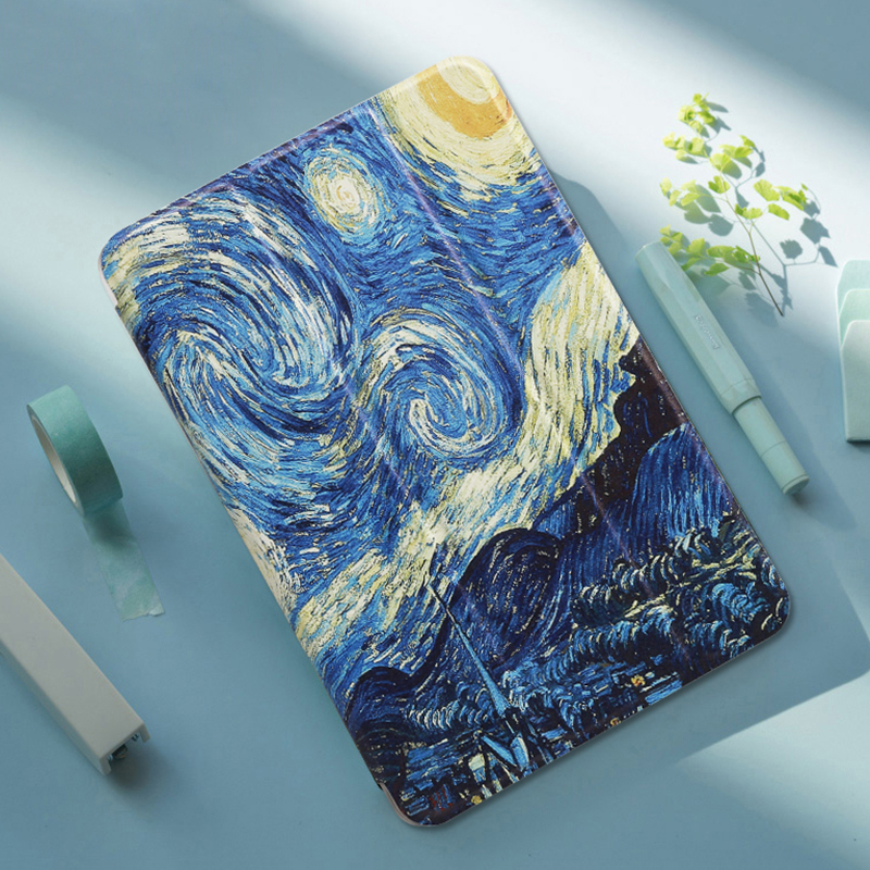 For Samsung Galaxy Tab A 8.0 2019 T290 T295 Funda Painted PU Leather Stand Folio Smart Case For Tab A 8.0 2019 & S Pen P200 P205