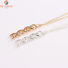 цены Silver Simple Chemical Formula DNA Molecular Necklace Dopamine Molecular Structure Hollow Necklace Pendant Girl Female Gift