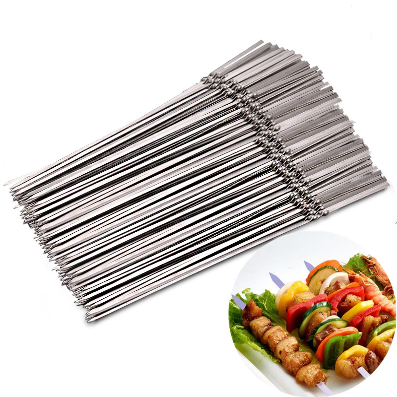 15pcs Reusable flat stainless steel barbecue skewers bbq Needle stick  For outdoor camping picnic tools cooking tools