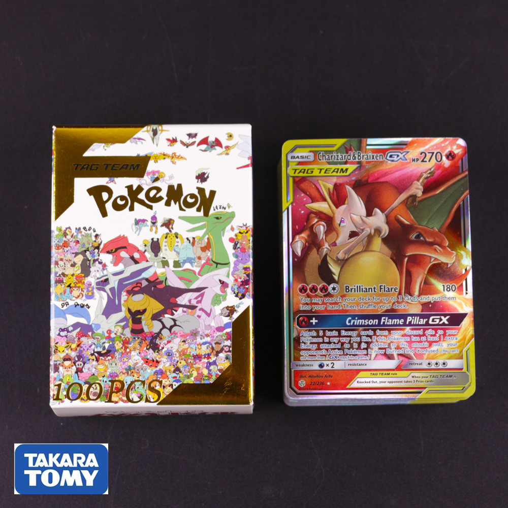 100pcs New Pokemon Card TAG TEAM GX Shining Cards Collection Trading Card Game Kids Toys