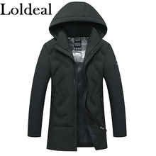 Loldeal Mens Warm Parka Jacket Anorak Winter Coat with Detachable Hood