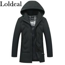 Loldeal Men's Warm Parka Jacket Anorak Jacket Winter Coat with Detachable Hood недорого